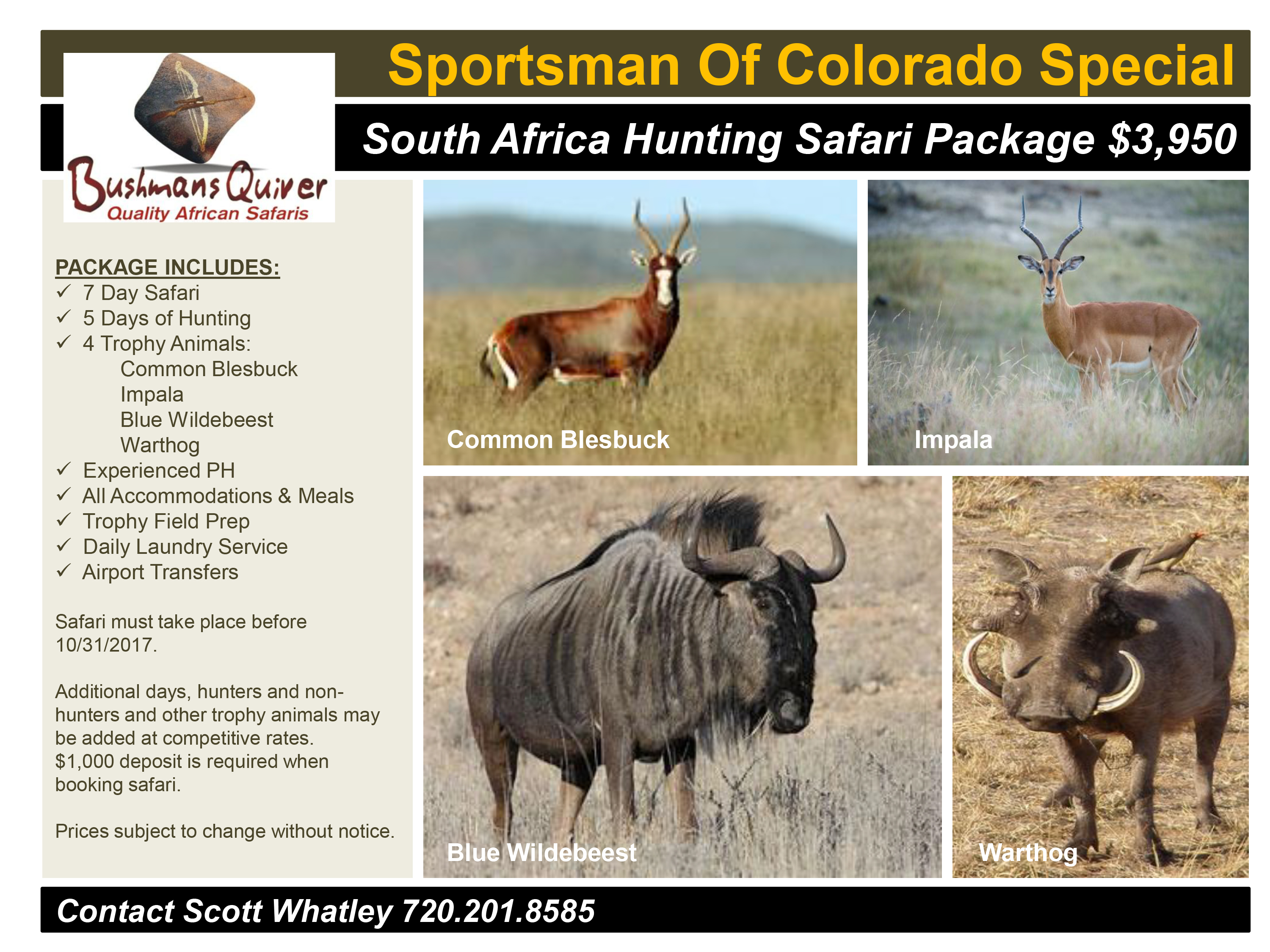 Sportsman Of Colorado South Africa Hunting Special Package 1