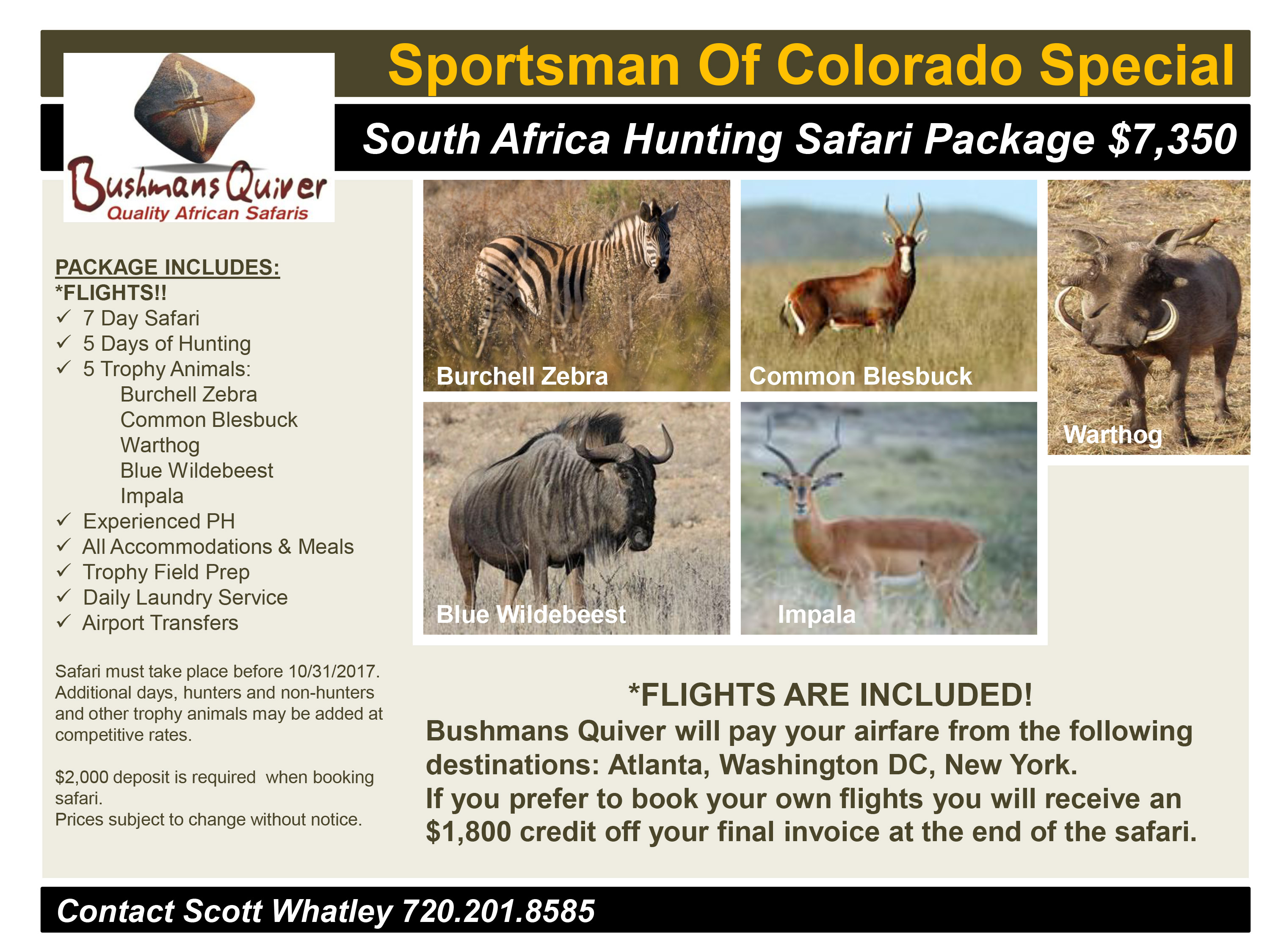 Sportsman Of Colorado South Africa Hunting Special Package 2