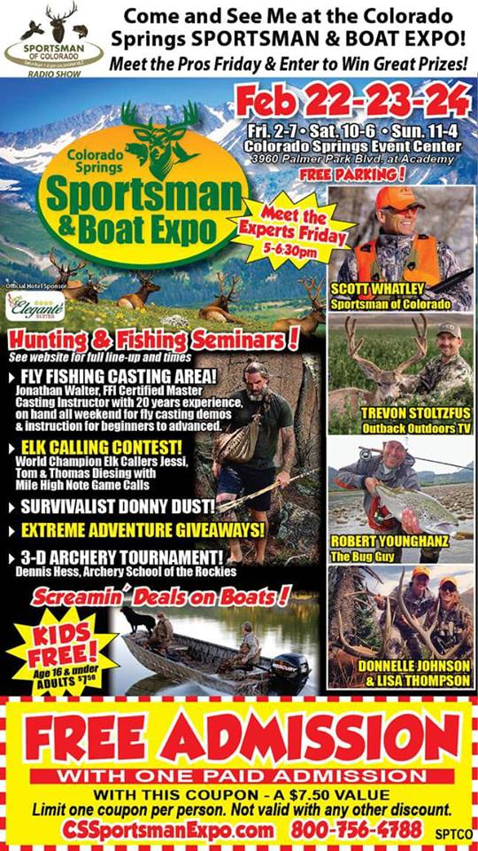 Feb 22-24, 2019 – Colorado Springs Sportsman & Boat Expo at Colorado Springs Event Center